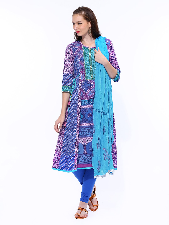 Rain & Rainbow Women Blue Printed Anarkali Churidar Kurta with Dupatta (multicolor)