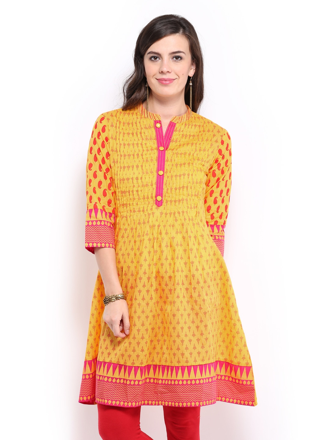 Rangmanch Women Yellow Printed Kurta