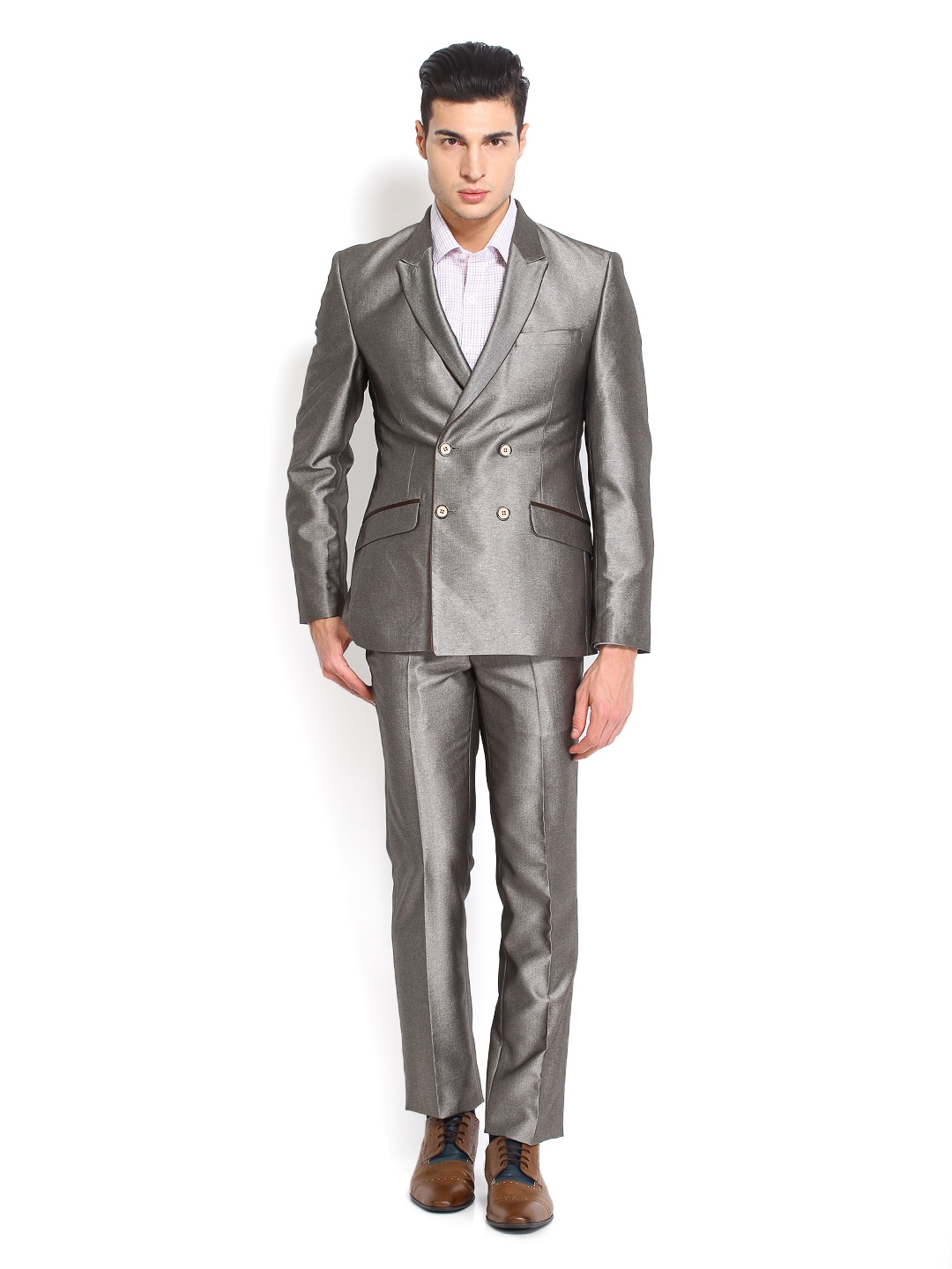Buy Raymond Men Grey Contemporary Fit Double Breasted Suit