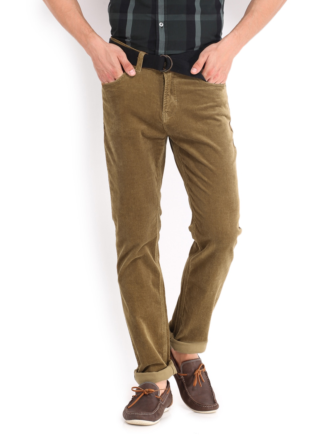 Buy Red Flame Men Brown Lean Fit Corduroy Trousers 2872716 for ...