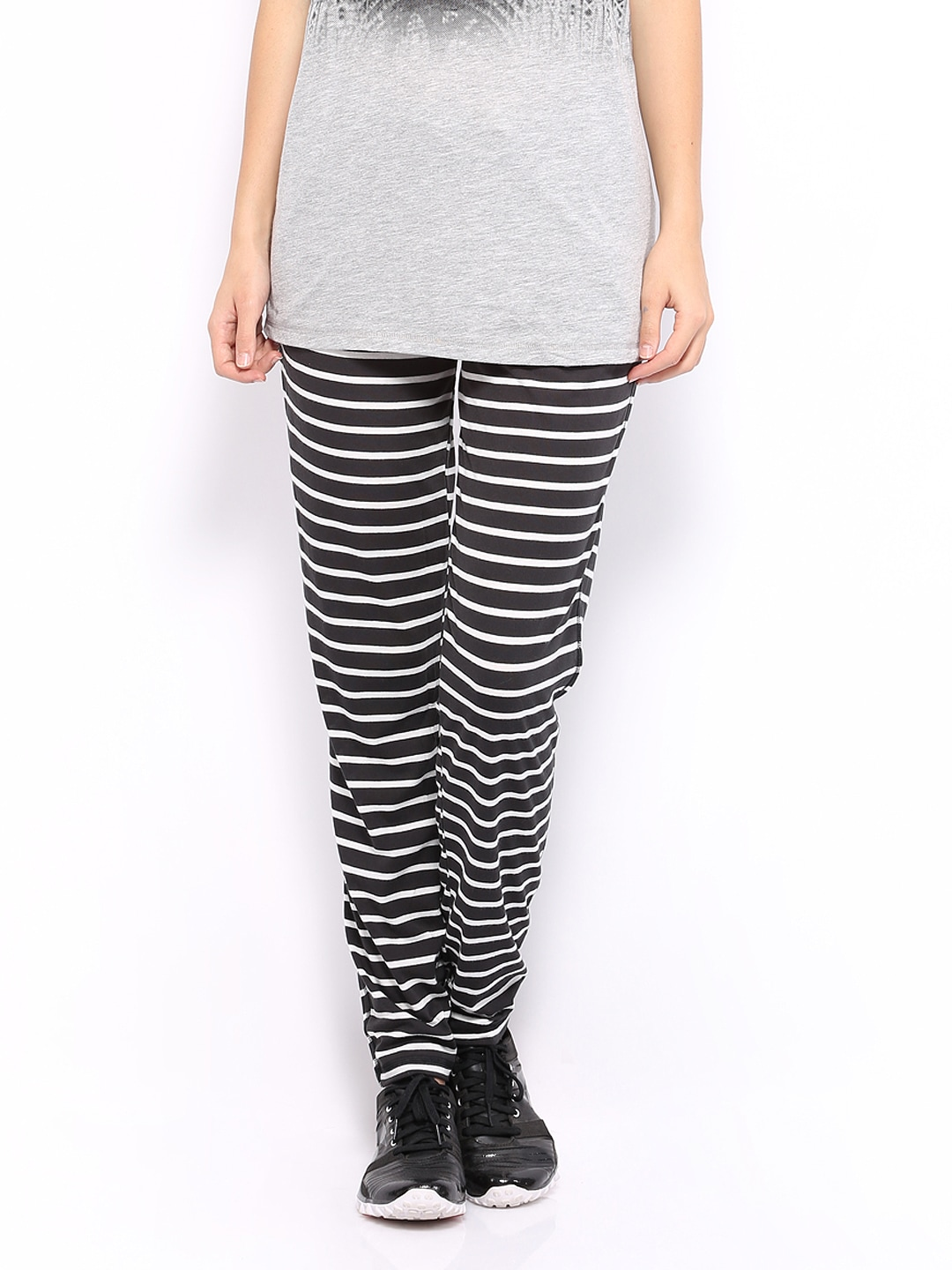 Buy Reebok Women Black & White Striped Yoga Pants (multicolor ...