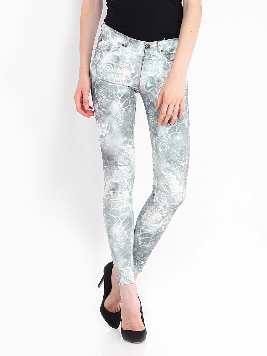 Riot Women Grey Printed Jeans