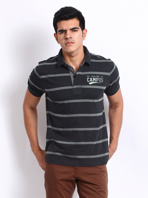 Campus Roadster Men Black & Grey Campus Striped Polo T-Shirt (Multicolor)