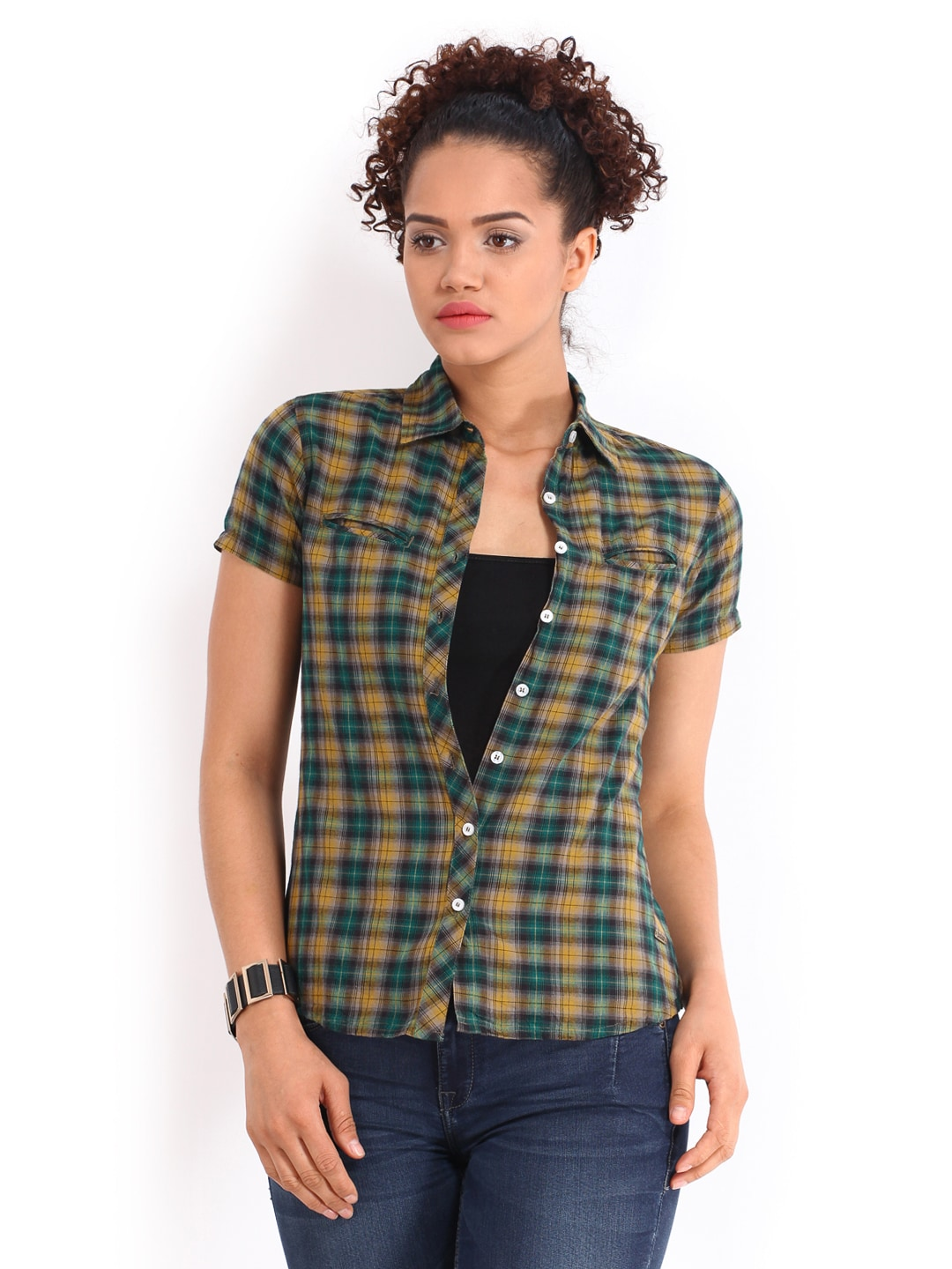 Mustard Roadster Women Mustard Yellow & Green Checked Shirt (Multicolor)