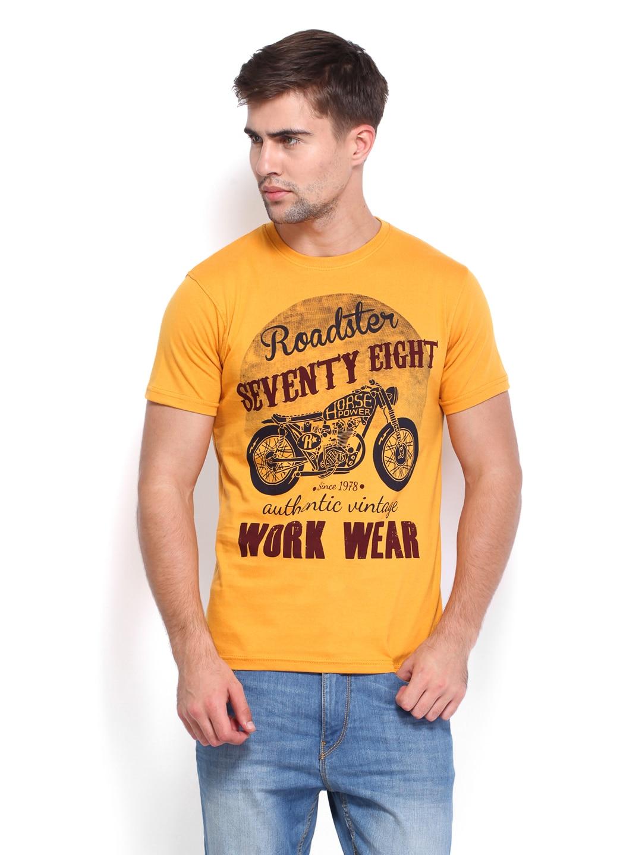 Mustard Roadster Men Mustard Yellow Printed T-Shirt (Multicolor)
