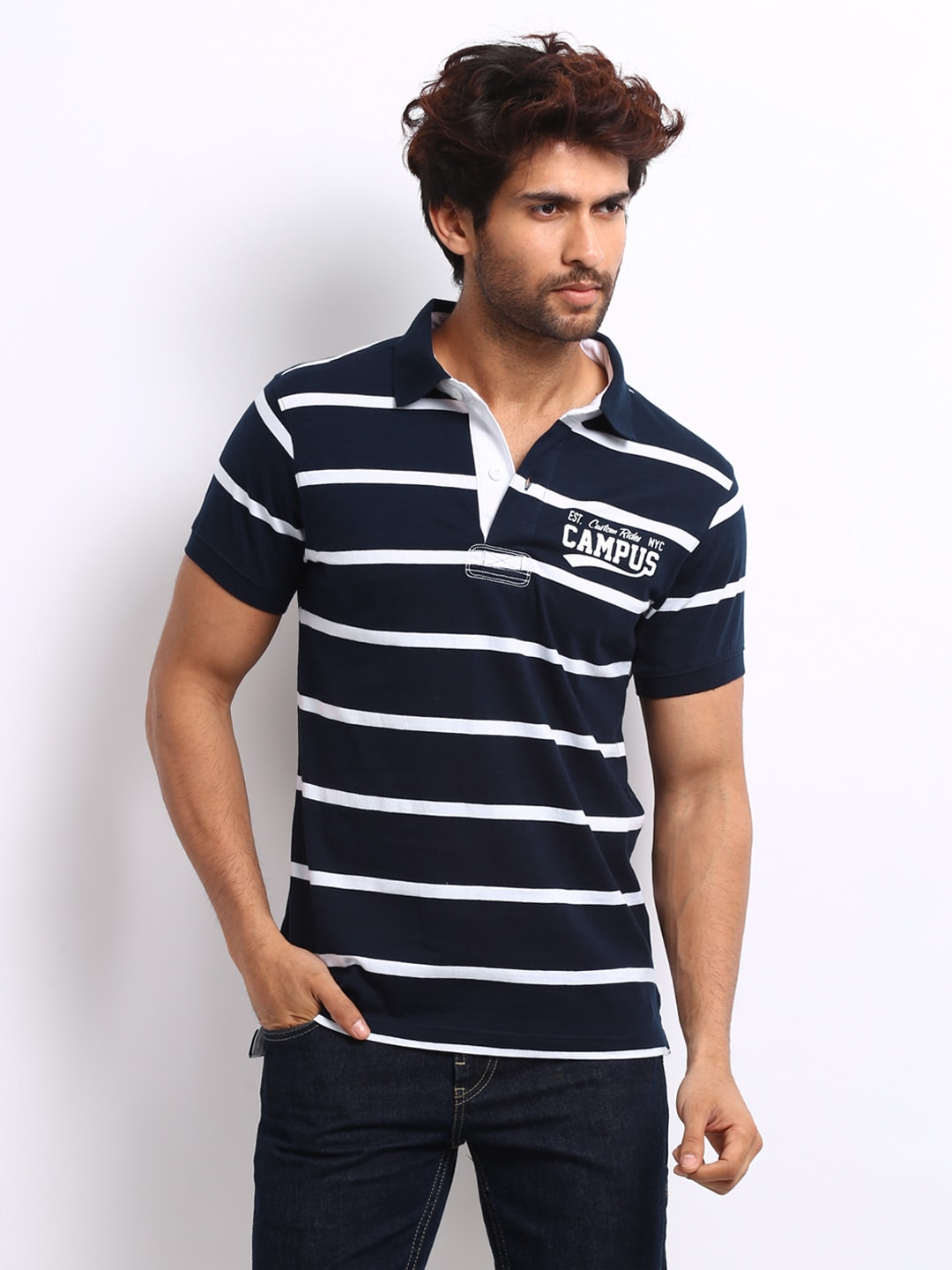 Campus Roadster Men Navy Striped Campus Polo T-Shirt (Multicolor)