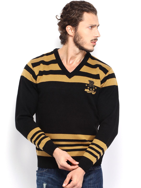 Mustard Roadster Men Black & Mustard Yellow Striped Sweater (Multicolor)