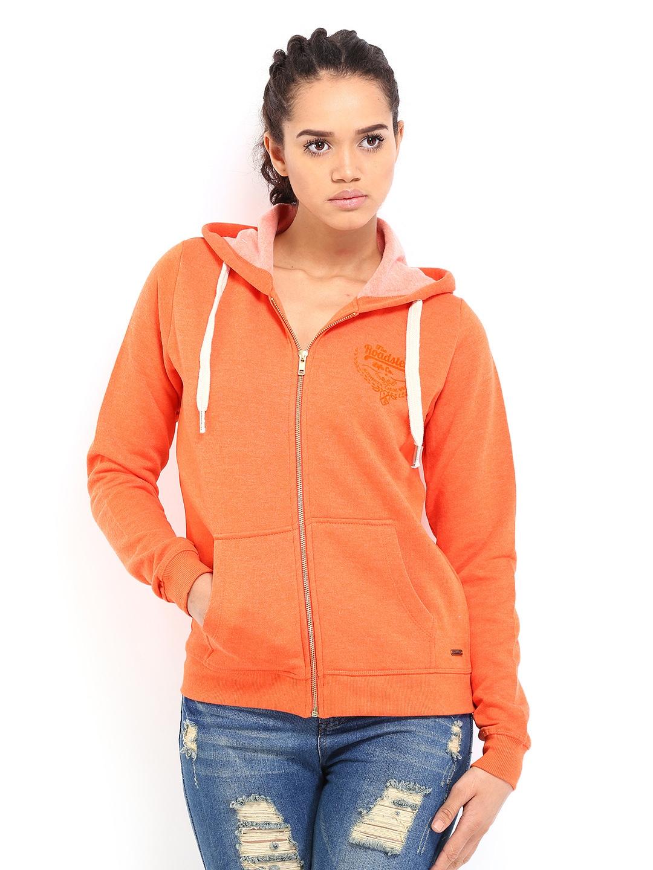 buy roadster women orange hooded sweatshirt 290