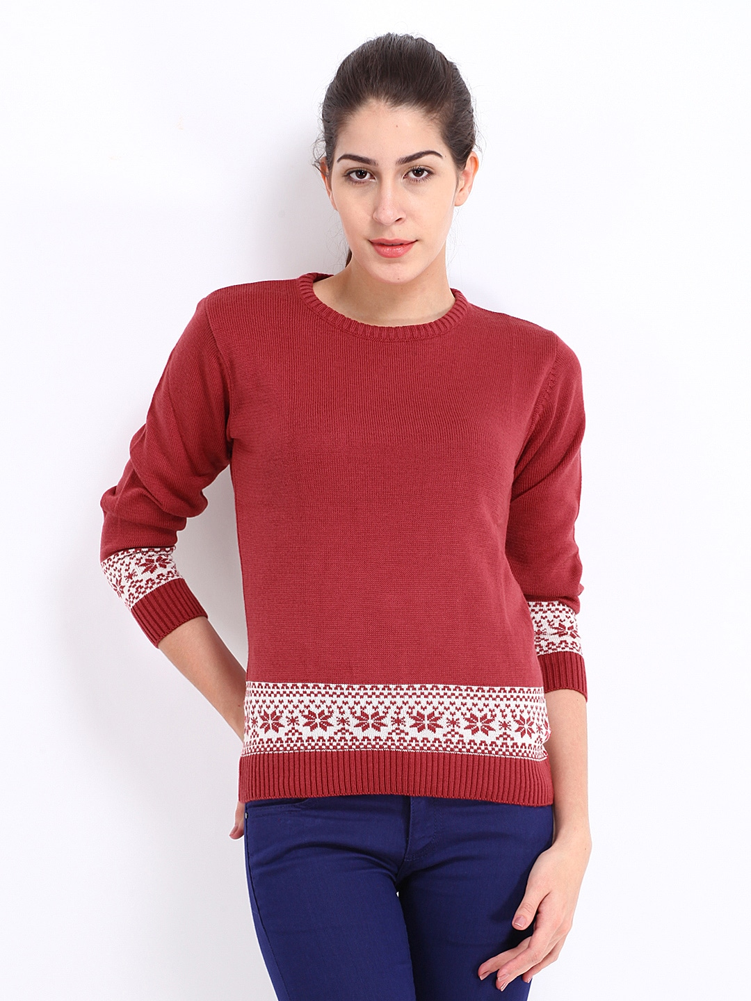 Style Tribe Womens Pink & White Knitted Jumper at Sears.com