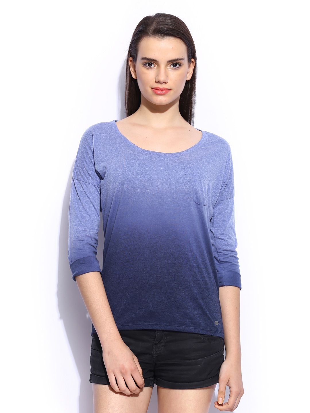 Roxy Roxy Women Blue Arty Ombre-Dyed Top