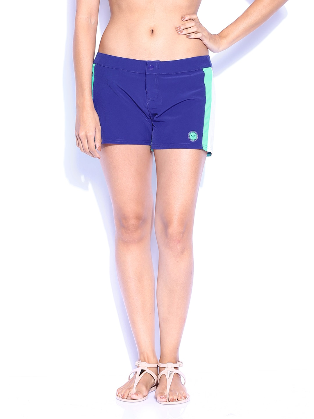 Roxy Roxy Women Blue & Sea Green Shorts (Multicolor)
