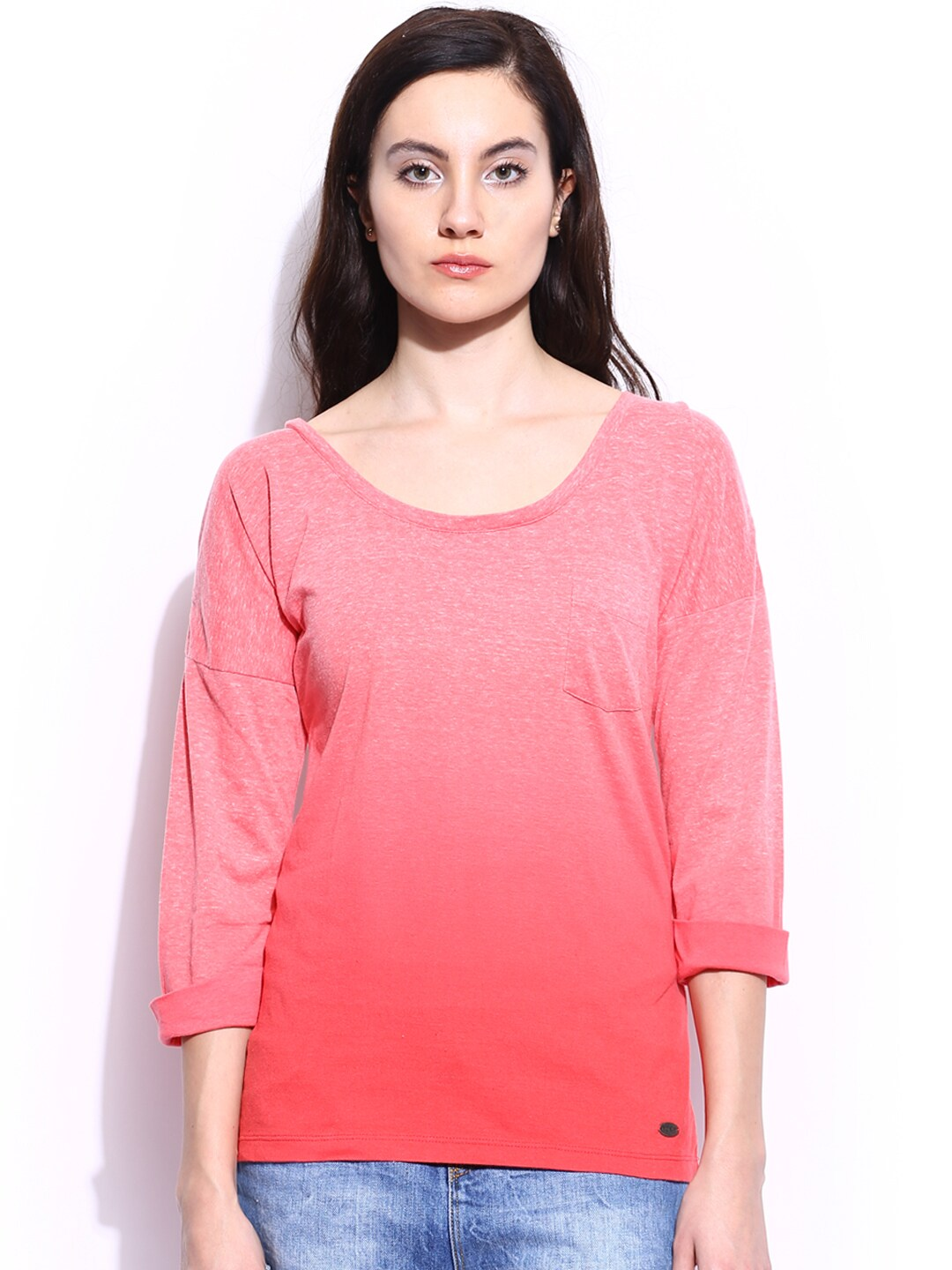 Roxy Roxy Women Coral Pink Arty Ombre-Dyed Top (Multicolor)