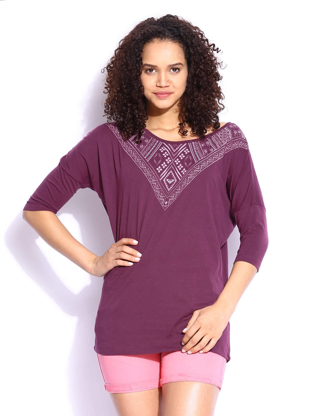 Roxy Roxy Women Purple Printed Top (Violet)
