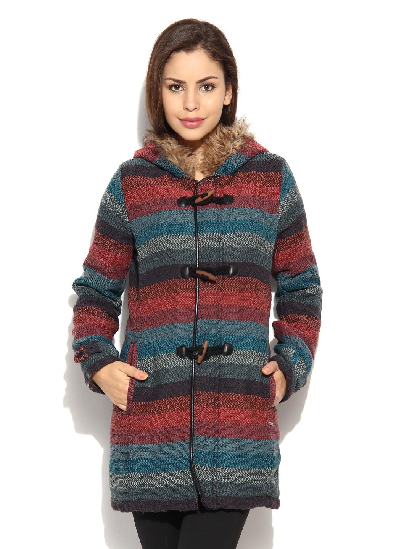 Roxy Roxy Women Multicoloured Striped Hooded Jacket (Multicolor)