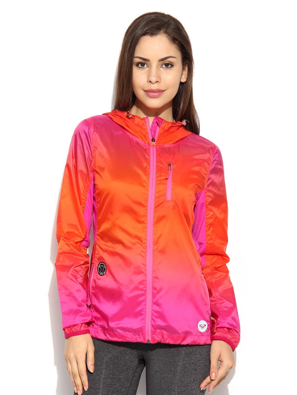 Roxy Roxy Women Orange & Pink Hooded Take It Easy Jacket (Multicolor)