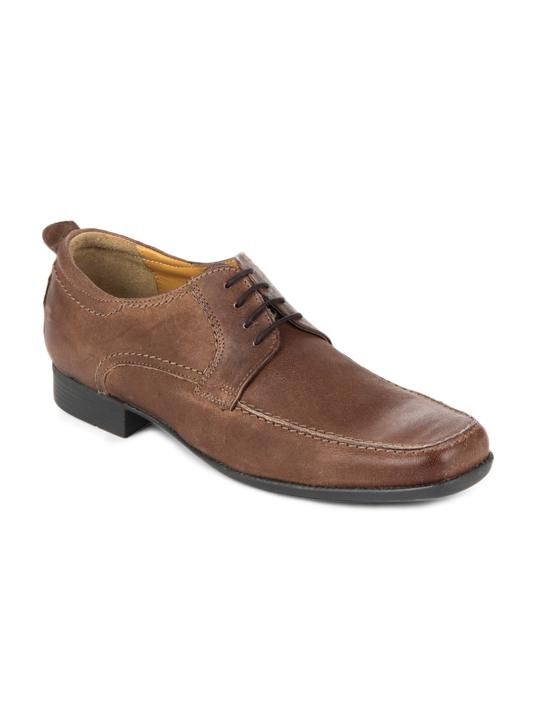 Ruosh Work Semi-Formal Men Tan Brown Leather Derby Shoes