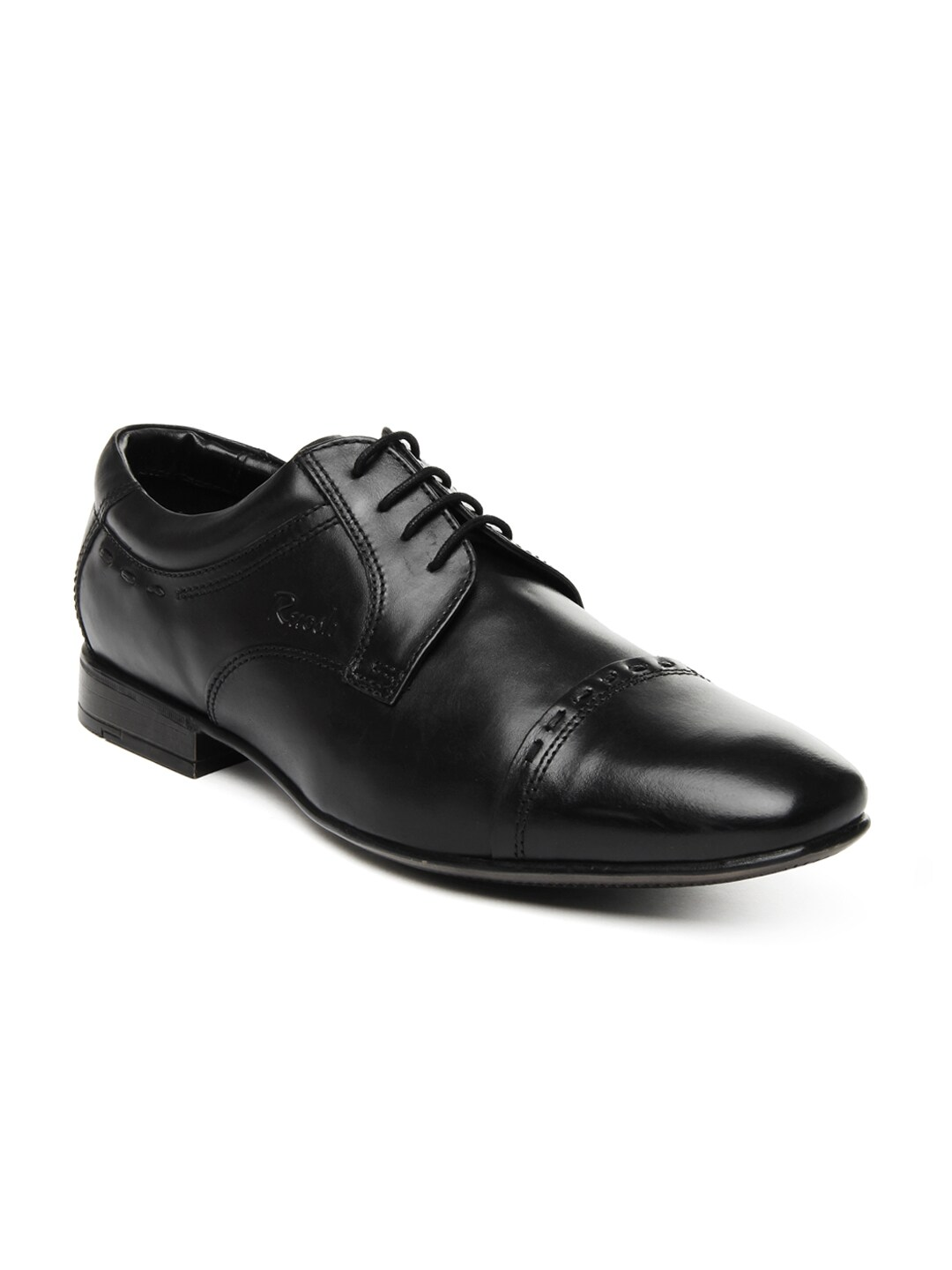 Ruosh Men Black Leather Semi-Formal Shoes