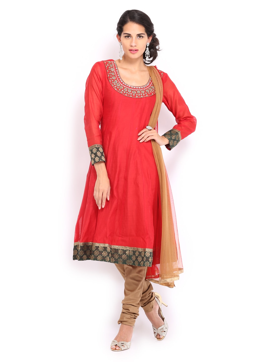 SPANDANA Women Red & Beige Anarkali Churidar Kurta with Dupatta (beige\/sand\/tan)