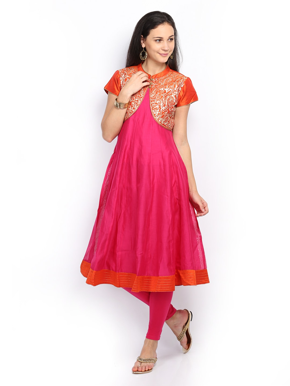 SPANDANA Women Pink & Orange Anarkali Churidar Kurta with Waistcoat (multicolor)