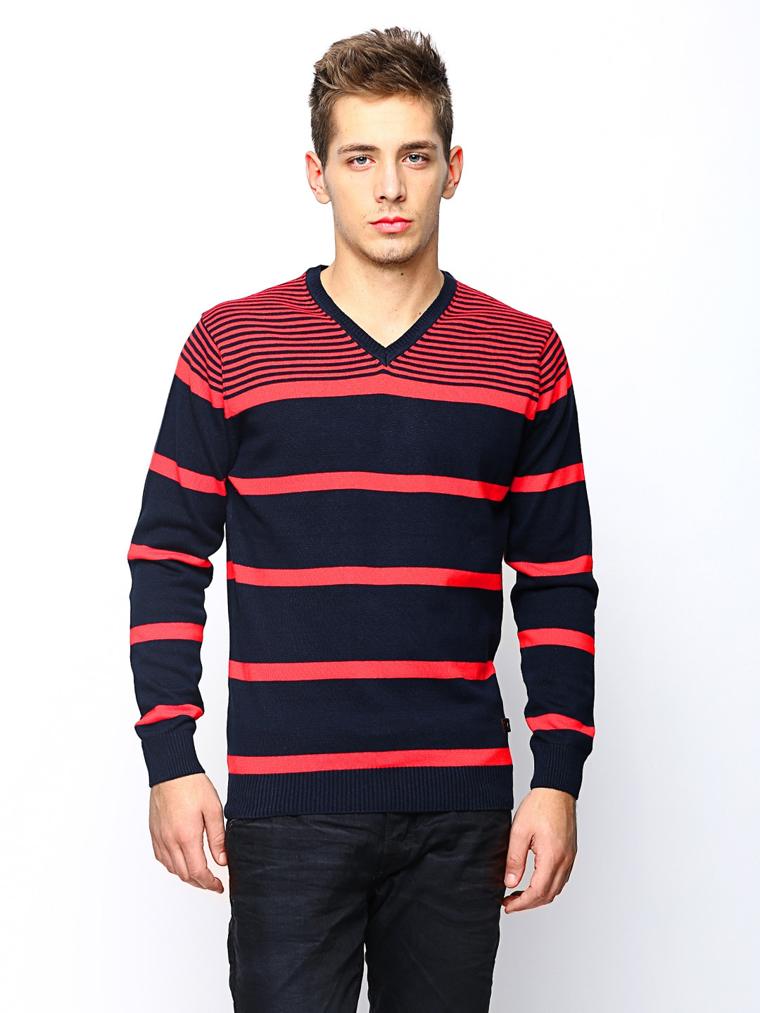 SPYKAR Men Navy & Coral Red Striped Sweater