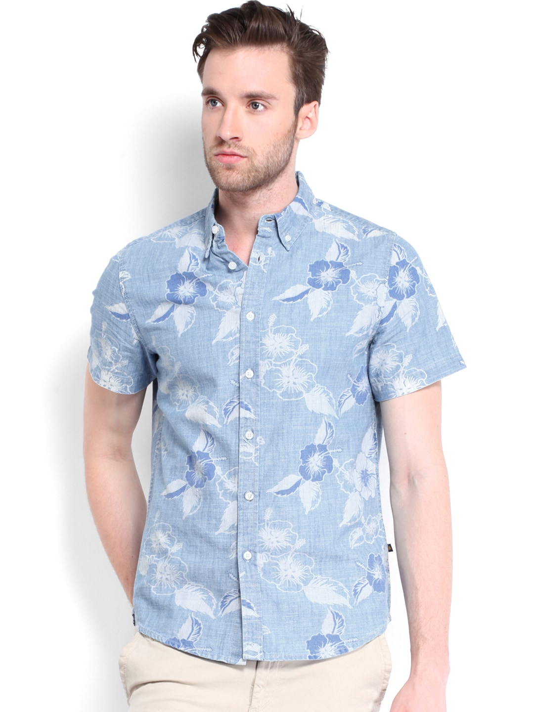 STANLEY KANE Men Blue Printed Classic Fit Casual Shirt