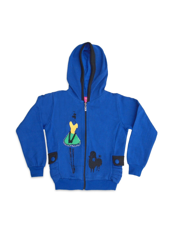SWEET ANGEL Girls Hooded Blue Sweatshirt