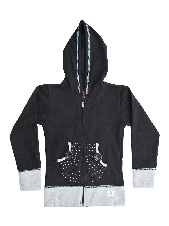 SWEET ANGEL Girls Black Hooded Sweatshirt