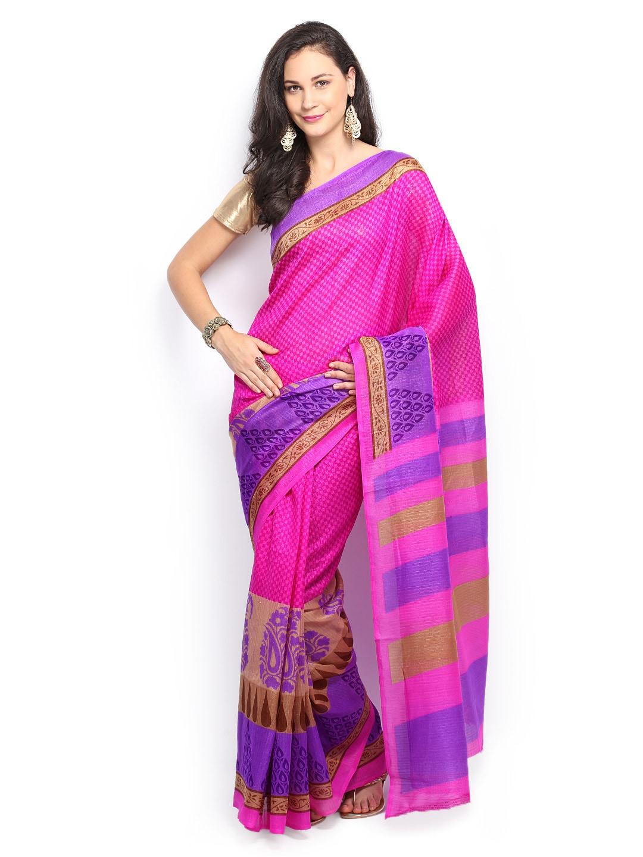 Saee Pink Art Silk Printed Saree (multicolor)