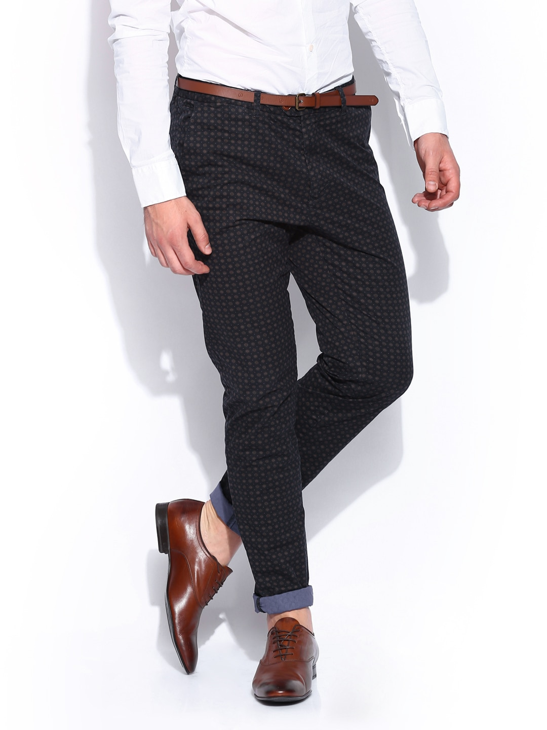 buy scotch soda men navy printed stuart slim fit chino trousers. Black Bedroom Furniture Sets. Home Design Ideas