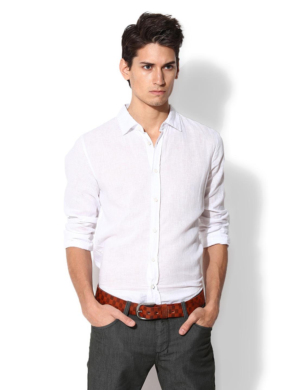 9642e851994 Buy Sisley Men White Linen Blend Casual Shirt 1314590 for men ...