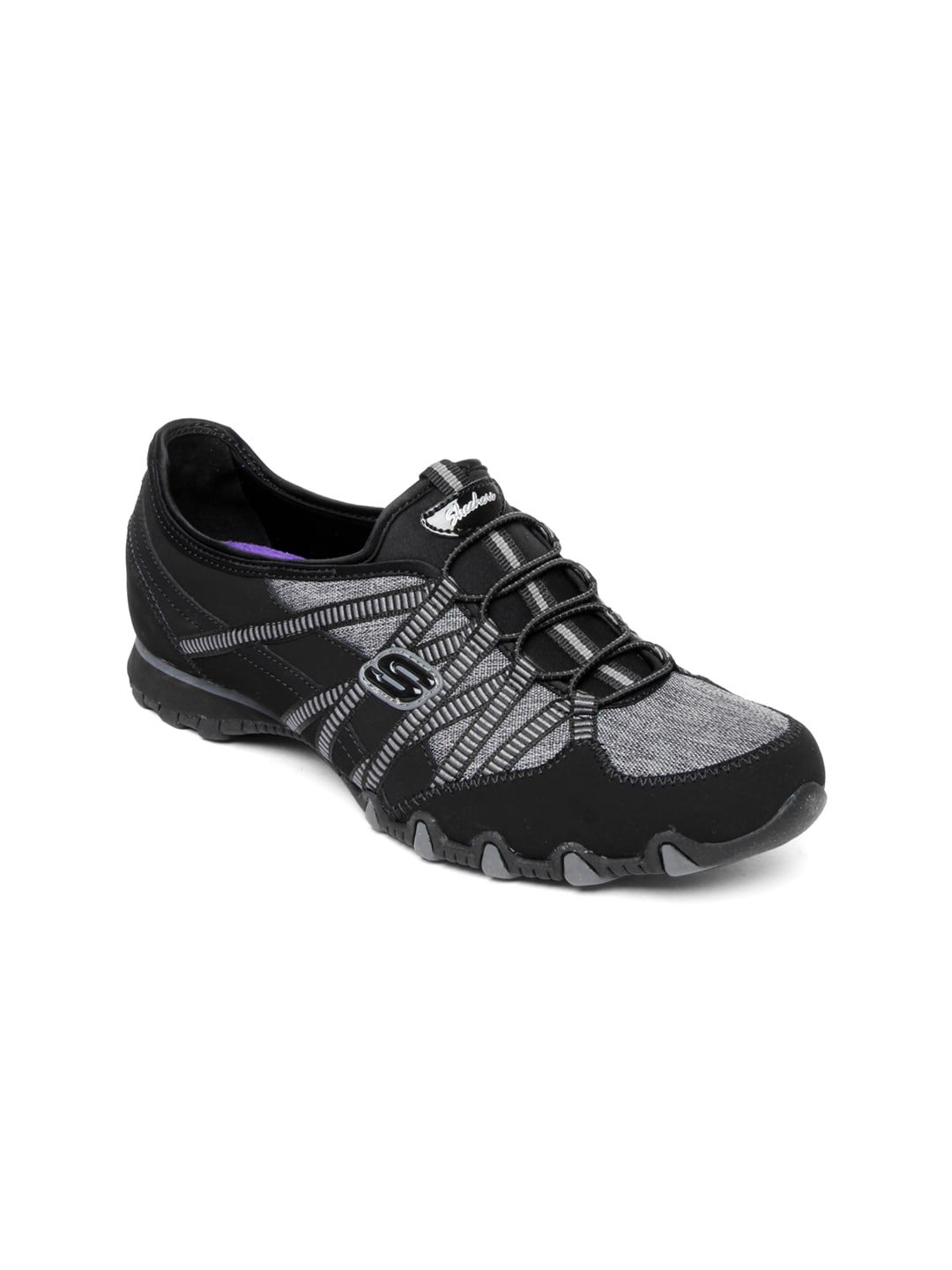 Skechers Women Black & Grey Bikers Primrose Casual Shoes (multicolor)