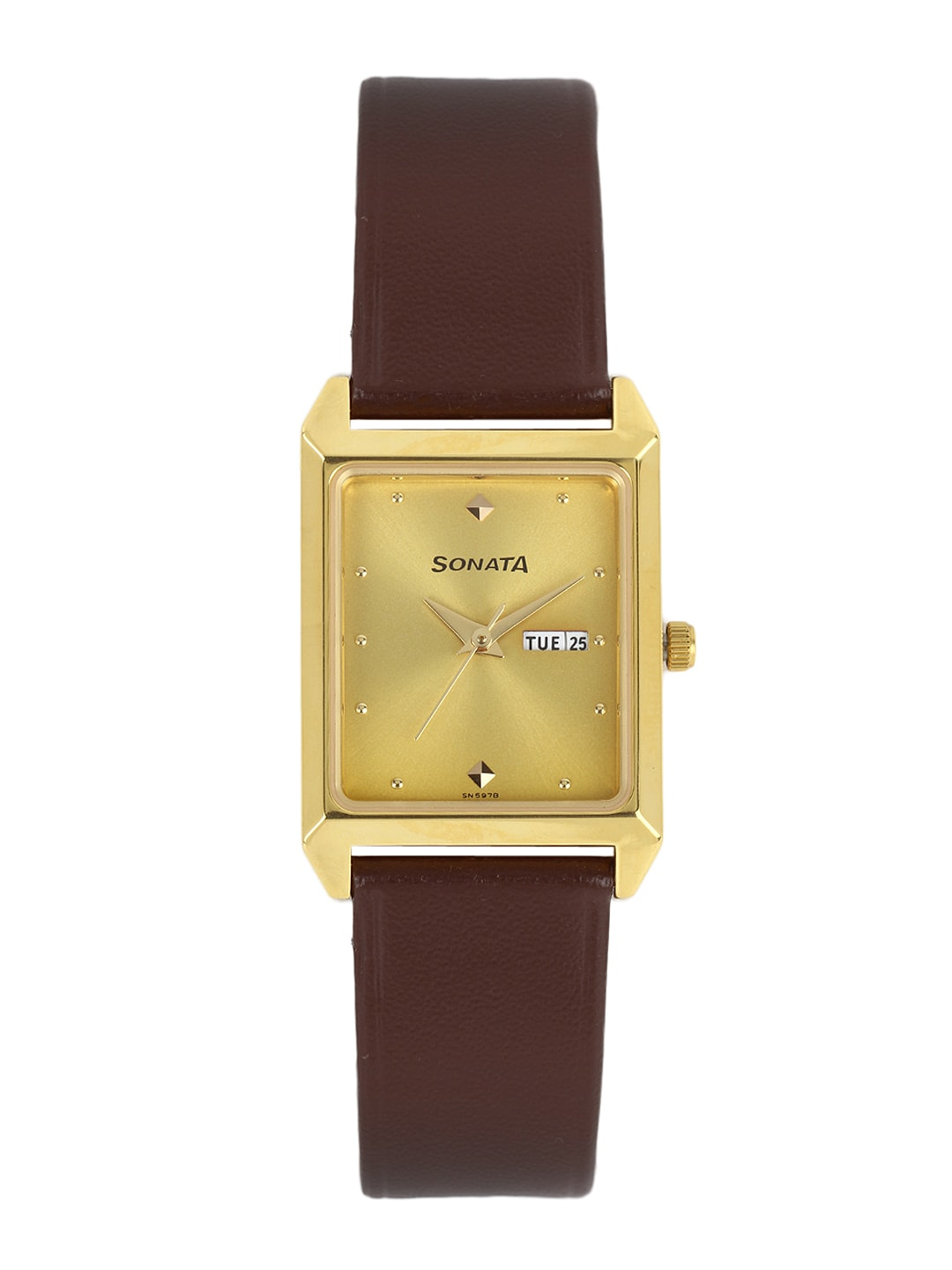 Sonata Men Gold-Toned Dial Watch NC7007YL05