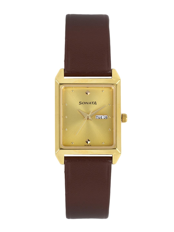 Sonata Men Gold-Toned Dial Watch NC7007YL05