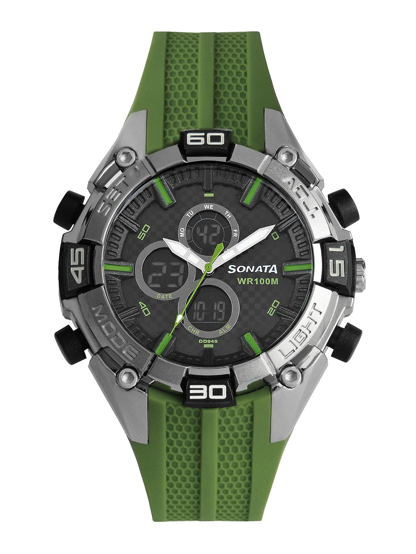 Sonata Ocean Series Men Green Analogue & Digital Watch 77028PP02J