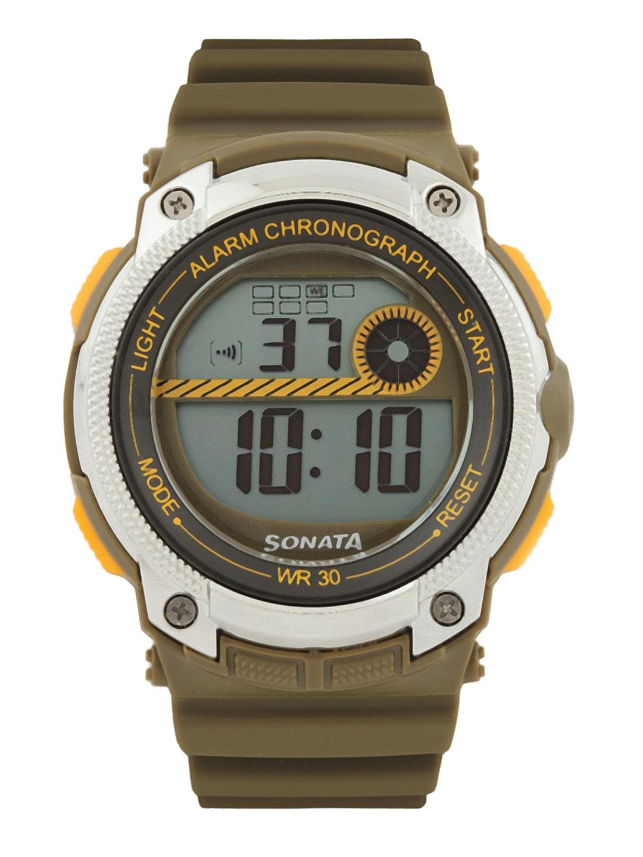 Sonata Men Olive Digital Watch 77005PP02
