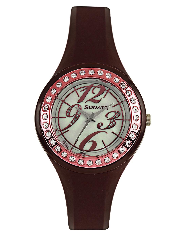 Sonata Women Pearly White Dial Watch