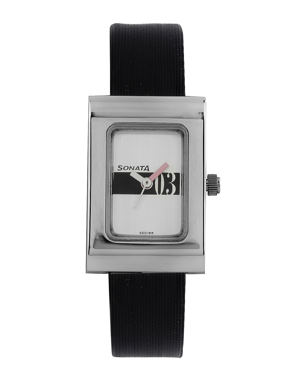Sonata Women Silver-Toned Dial Watch 8102SL04