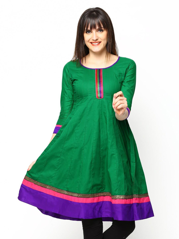 Span Women Green Anarkali Kurta