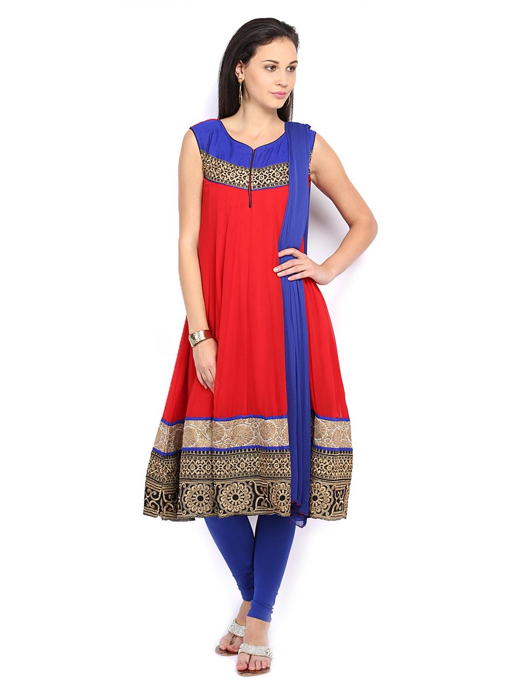 Span Women Red & Blue Anarkali Churidar Kurta with Dupatta (multicolor)