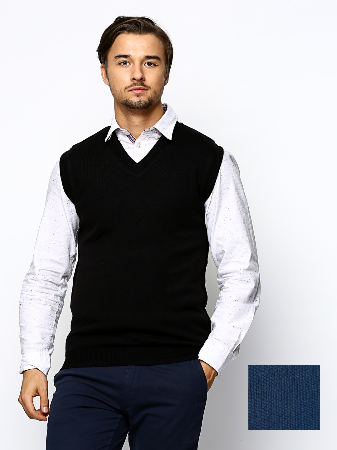 Sports 52 Men Black  Blue Woollen Reversible Sweater