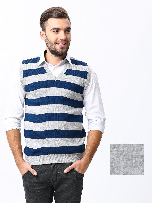 Sports 52 Men Grey Melange  Blue Striped Reversible Woolen Sweater