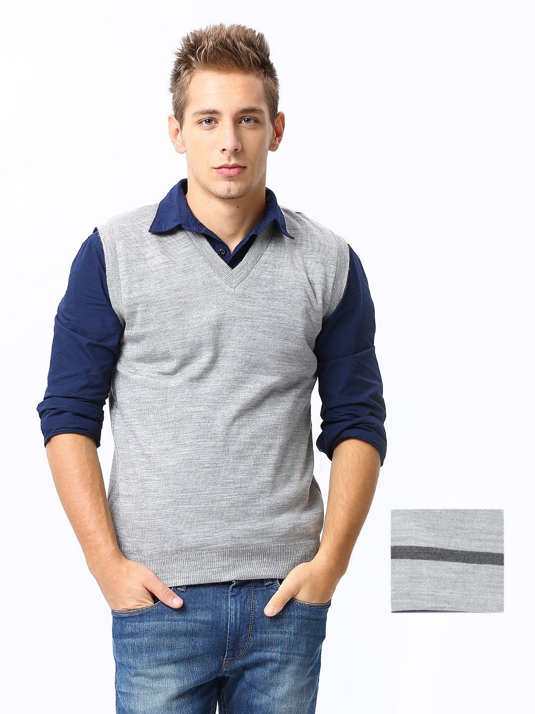 Buy Sports 52 Men Grey Melange Striped Reversible Woolen Sweater