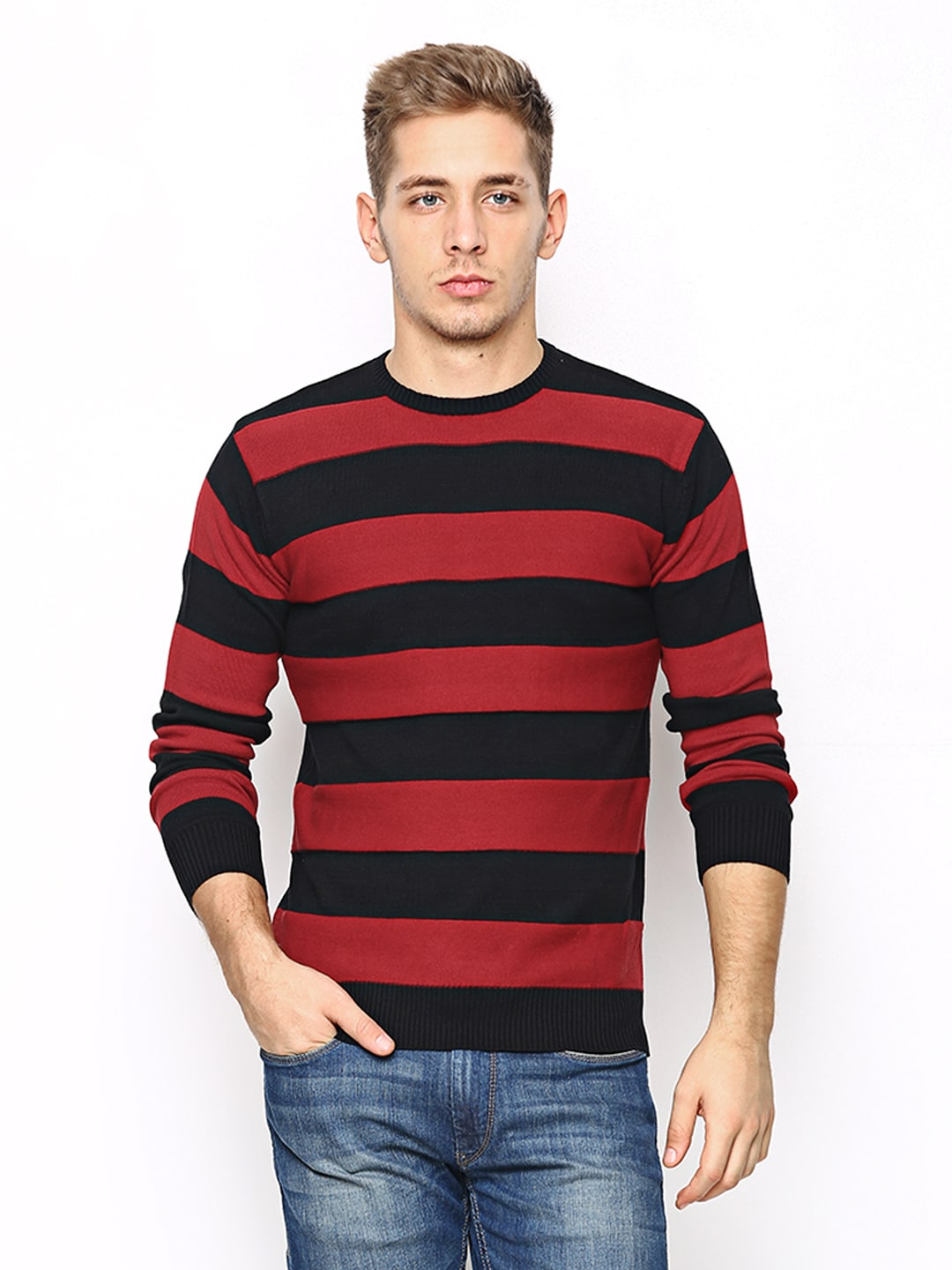 Black Red Striped Sweater - Cardigan With Buttons
