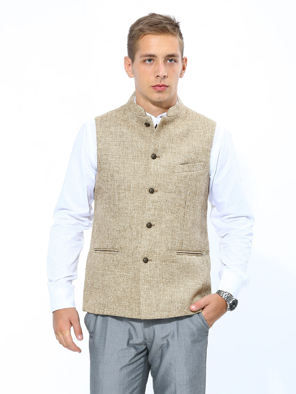 Buy Success Men Beige Jute Nehru Jacket - 292 - Apparel For Men - 396412