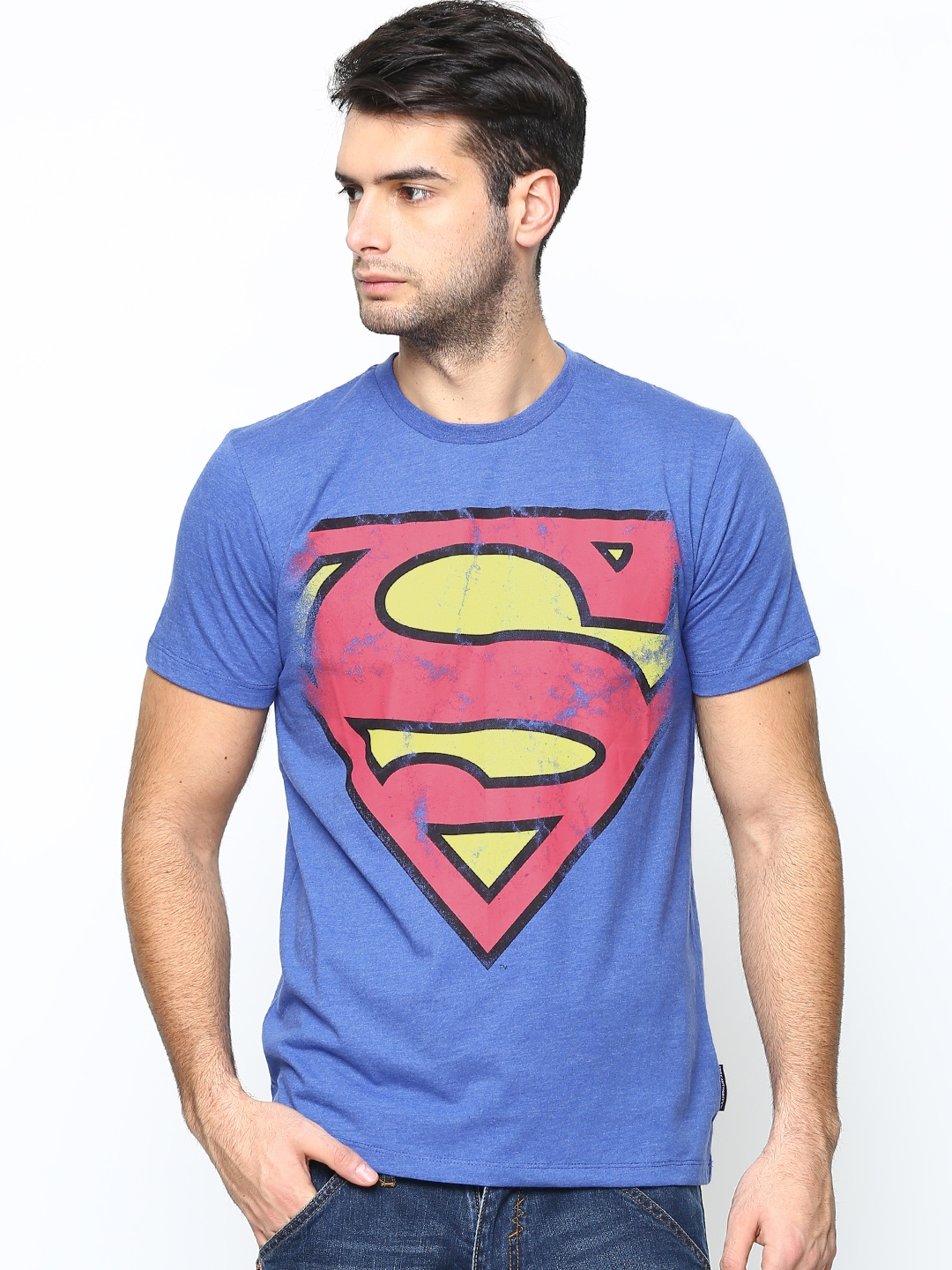 Superman Superman By Free Authority Men Blue Melange Printed T-Shirt (Multicolor)