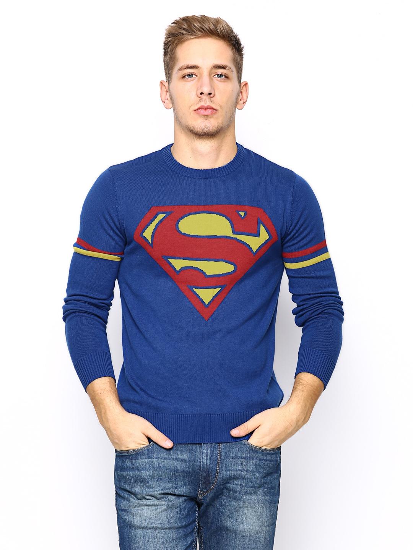 Superman Superman Men Royal Blue Sweater