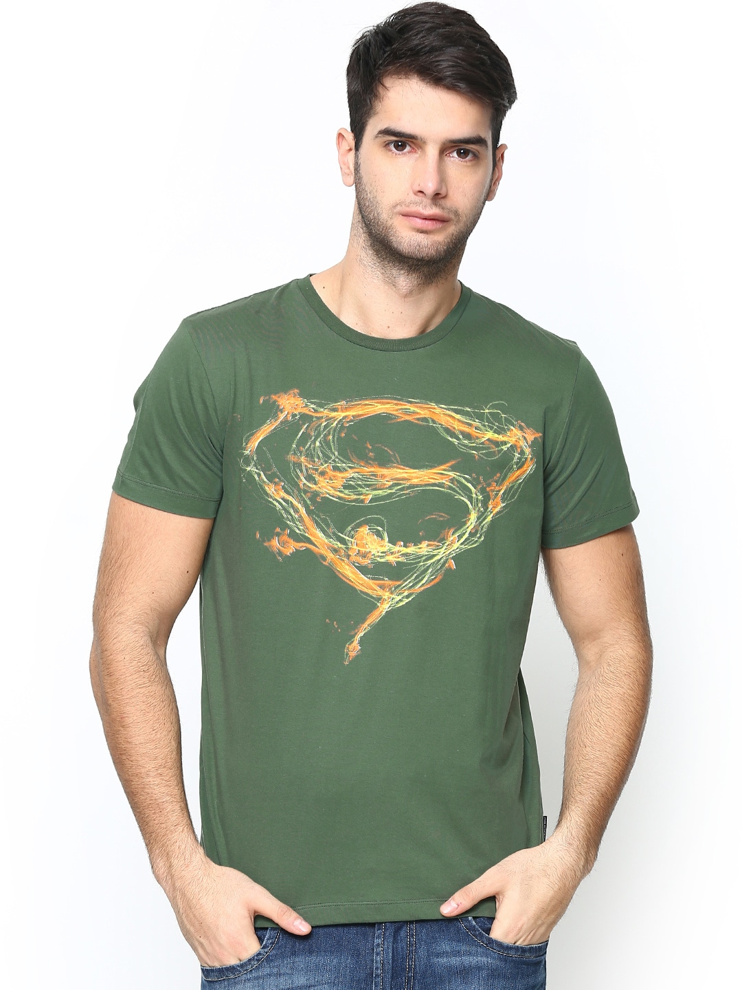 Superman Superman By Free Authoirty Men Green Printed T-Shirt (Multicolor)
