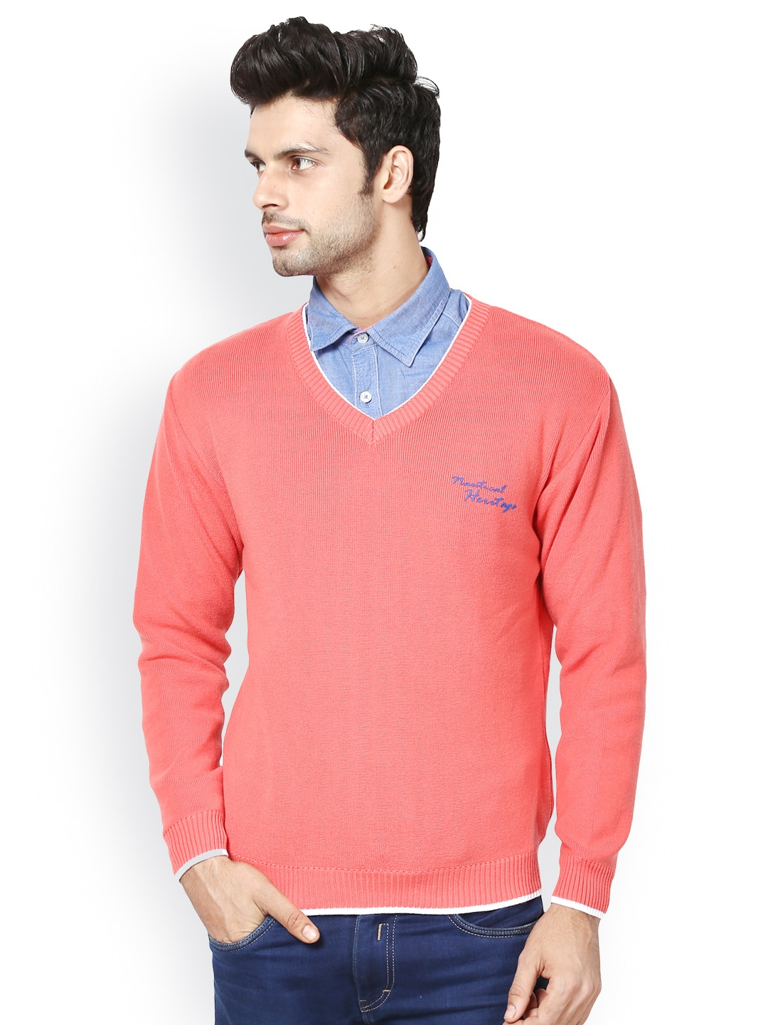 Buy Taanz Men Peach-Coloured Sweater (orange) 8827415 for men ...