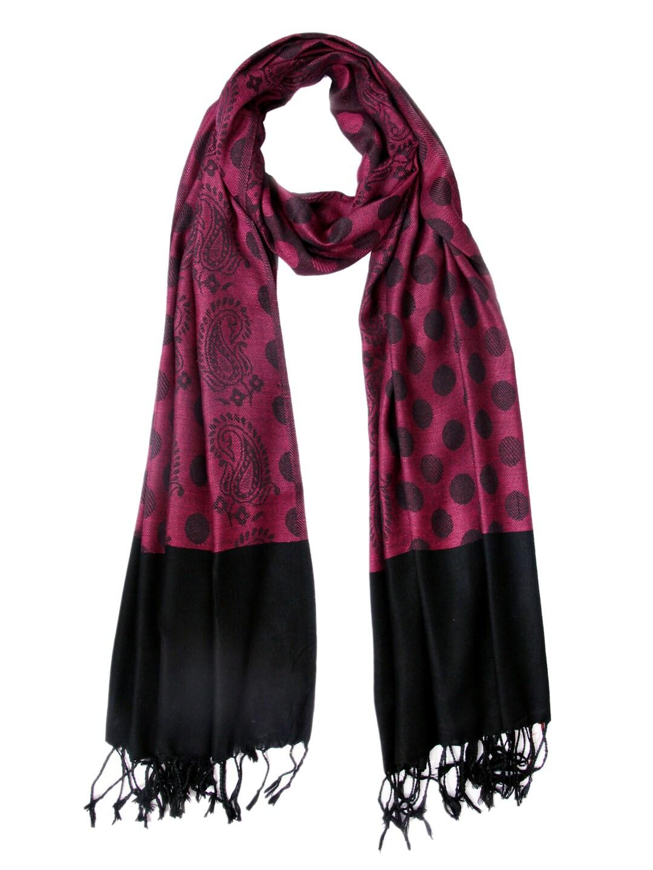 Tassels Tassels Pink & Black Stole (Multicolor)