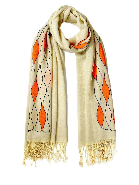Tassels Tassels Women Beige & Orange Embroidered Woollen Stole (Beige\/Sand\/Tan)